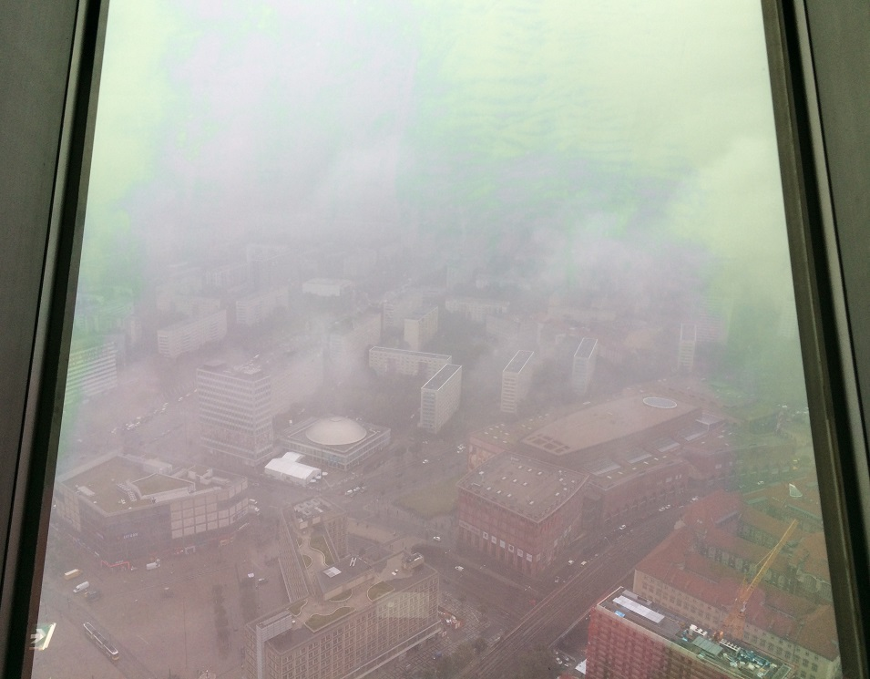 View from the BT Tower in Berlin on a rainy day - by Hannah Cackett (Authentic Gems Travel)