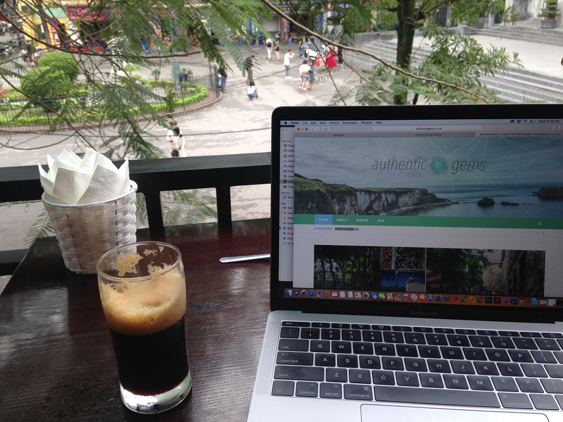 Working from a cafe in St Martins Square, Hanoi, Vietnam - by Hannah Cackett (Authentic Gems Travel)