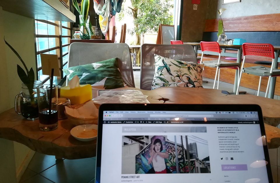 Photo of a cafe in Kuching, Borneo, Malaysia where I worked from as a digital nomad in South East Asia