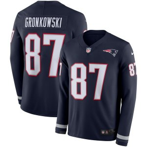 Men's New England Patriots Rob Gronkowski Nike Navy Therma Long Sleeve Jersey