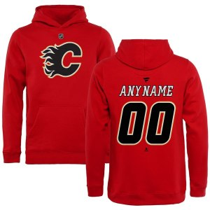 Youth Calgary Flames Fanatics Branded Red Personalized Team Authentic Pullover Hoodie