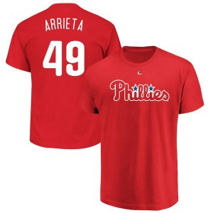 Men's Philadelphia Phillies Jake Arrieta Majestic Red Official Name & Number T-Shirt