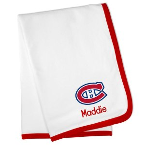 Montreal Canadiens White Personalized Baby Blanket