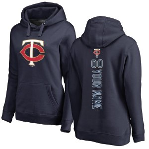 Women's Minnesota Twins Navy Personalized Backer Pullover Hoodie