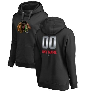 Women's Chicago Blackhawks Fanatics Branded Black Personalized Midnight Mascot Pullover Hoodie