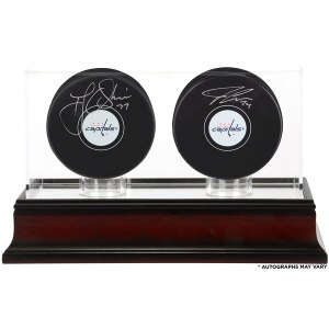 Autographed Washington Capitals T.J. Oshie and John Carlson Fanatics Authentic Hockey Pucks with Mahogany Two-Puck Case