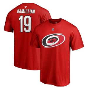 Men's Carolina Hurricanes Dougie Hamilton Fanatics Branded Red Authentic Stack Primary Logo Name & Number T-Shirt