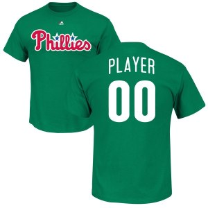 Men's Philadelphia Phillies Majestic Green 2018 St. Patrick's Day Roster Custom Name & Number T-Shirt