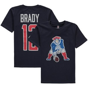 Youth New England Patriots Tom Brady Navy Vintage Distressed Name & Number T-Shirt
