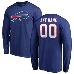 Men's Buffalo Bills NFL Pro Line Royal Any Name & Number Logo Personalized Long Sleeve T-Shirt