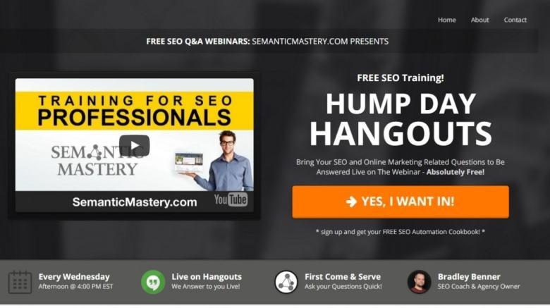 Pagina di compressione di Hangouts Hump Day Iscriviti