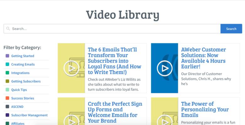Libreria video AWeber