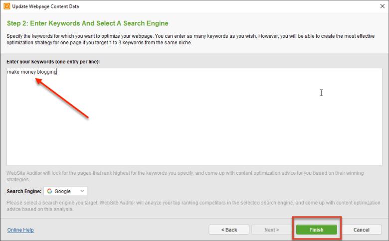 Parole chiave di controllo della pagina del revisore del sito Web