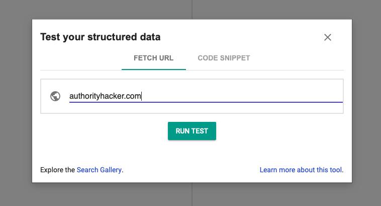 Strumento di test dei dati strutturati di Google
