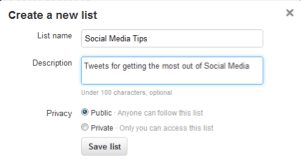 creating twitter lists