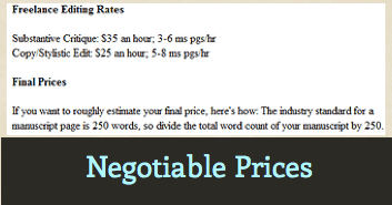 Tiffany T. Cole Editing Prices