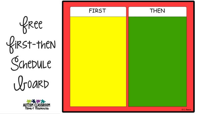 First-then visuals are great methods for helping students with communication needs to understand the order of activities. Get a free first-then board and check out different ways to use them with your students.