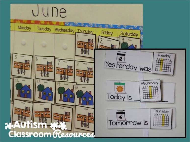 morning meeting calendar with numbers and home-school