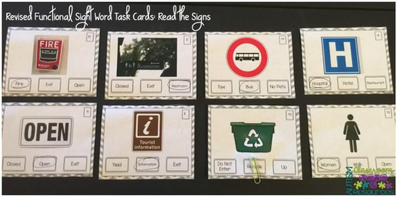 Revised Functional Sight Word Task Cards Read the Signs from Autism Classroom News