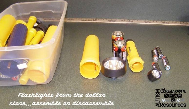 I love these flashlights from the dollar store. Each flashlight (sometimes 2) are $1. However, once you have them, you can use them as a task right out of the box. Students can assemble or disassemble. It could just be the batteries or the light mechanism as well. From Autism Classroom Resources Workbasket Wednesday.