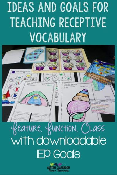 Ideas and Goals for Teaching Receptive Vocabulary with downloadable IEP goals for RFFCs