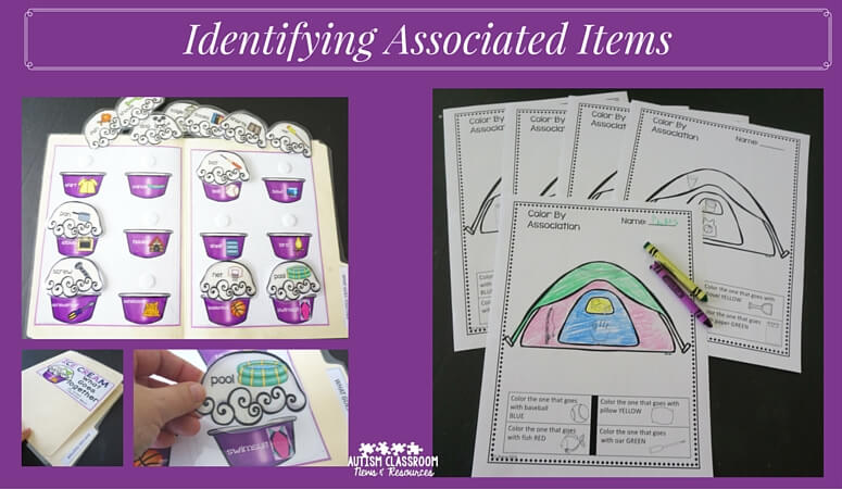 Two ways to identify associated items--color the one that goes with X and a matching file folder.