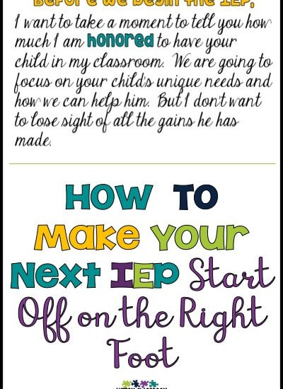 We all want our IEPs to go well. We want to do what's right for the student and we want to support the families. Getting it started on the right note is a good start. Here are some ideas to help with that.