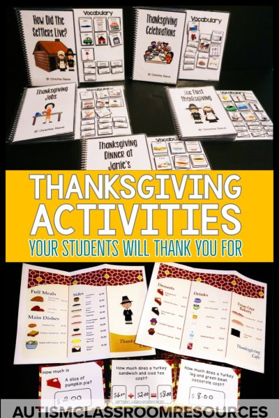 The time before winter break can be rough in the special education classroom. Check out these Thanksgiving activities to keep your students engaged. Don't worry, I've got you covered with some freebies too! #thanksgivingactivities #specialeducation