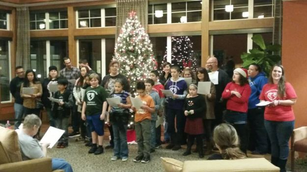 Autism Serves Kids Care Club Caroling in December 2016 at Stephen's Place