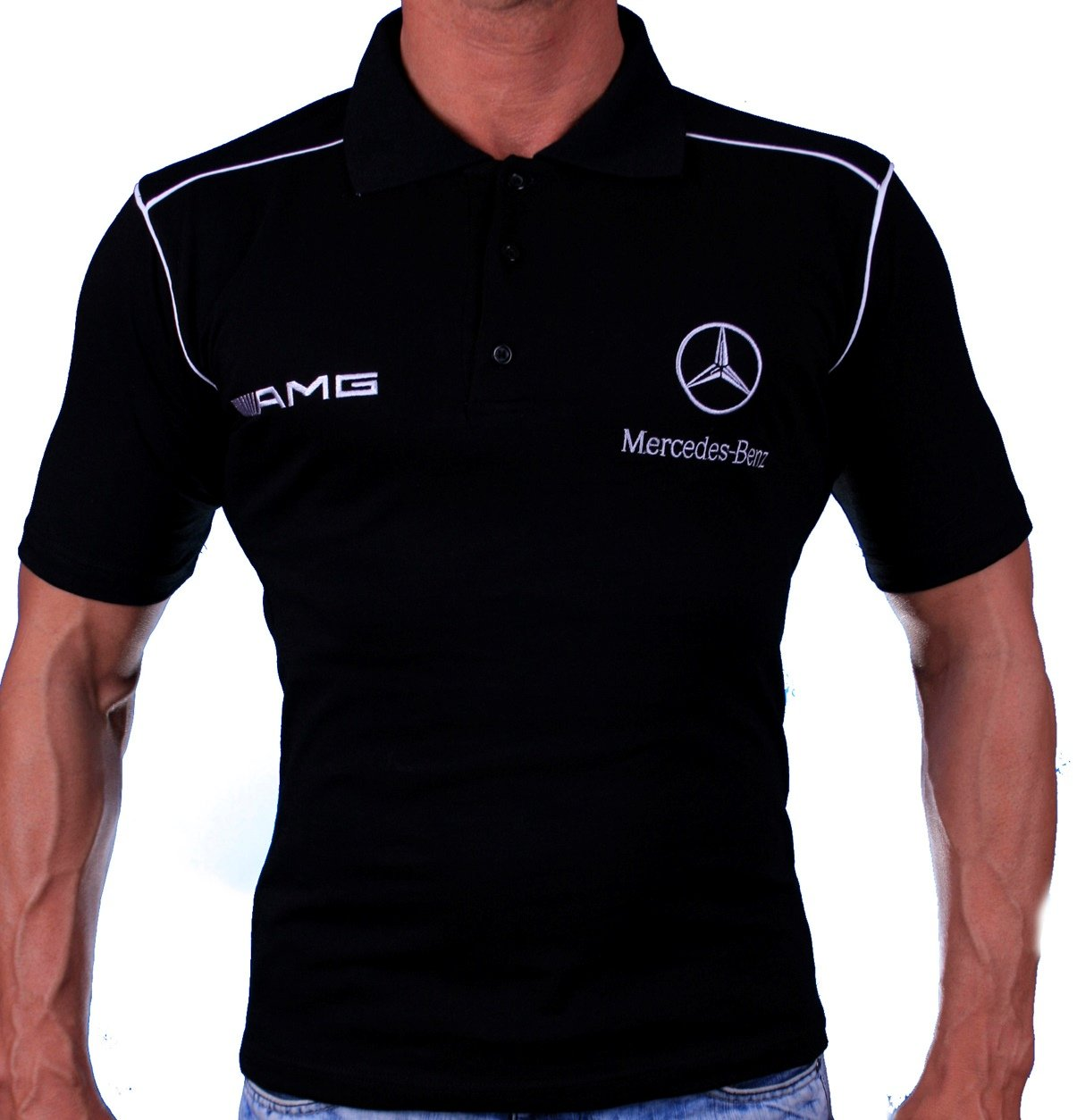 mercedes amg polo black shirt hand crafted by auto moto fans