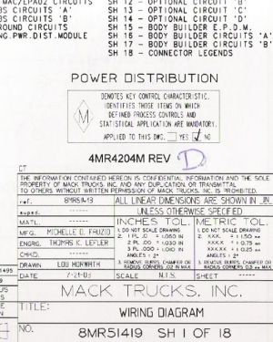 2004  2005 Mack Wiring Diagram Chassis CT