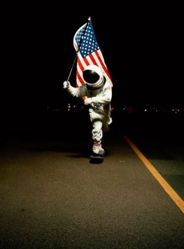 Skateboarding spaceman