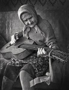 Romania Old woman Guitar