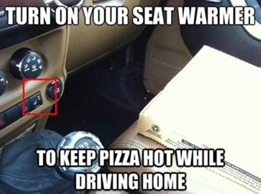 car life hacks pizza