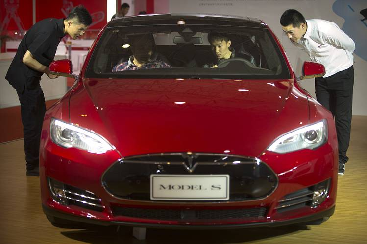 A Tesla Model S electric car on display at the Beijing International Automotive Exhibition in Beijing in April.