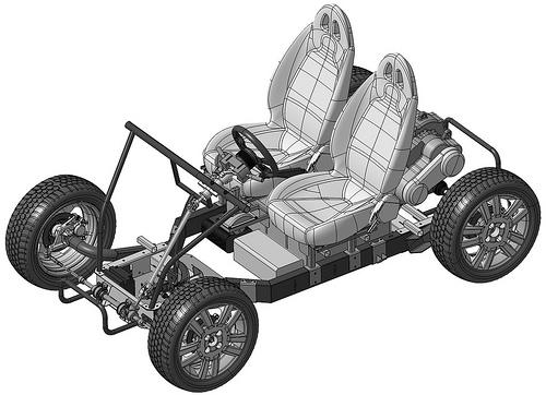 Das ist ein Computermodell des Urban Tabby, hier fehlt noch die Verkleidung usw. Bildquelle: http://www.osvehicle.com/