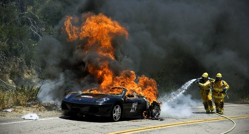 Ferrari F430 Spider on Fire