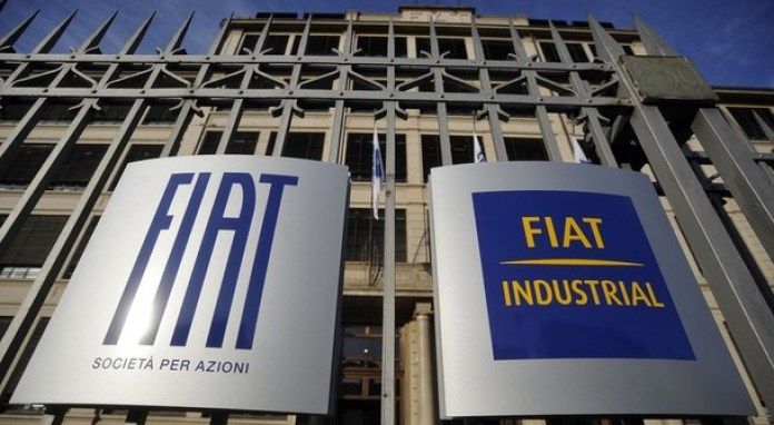 Fiat's logo's are seen at the main entrance of the Fiat headquarters in Turin