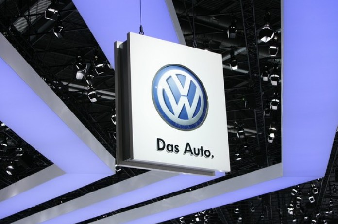 The Volkswagen VW logo on show at the ca