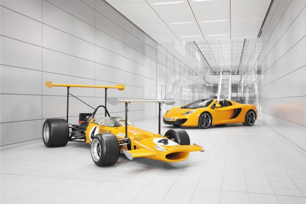McLaren M7C (1969) sits alongside the 12C Spider