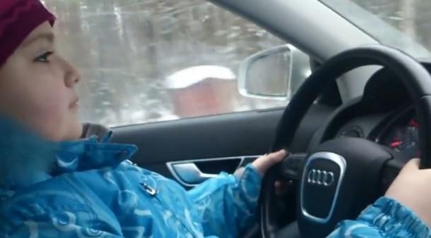 8-year girl drive audi a6