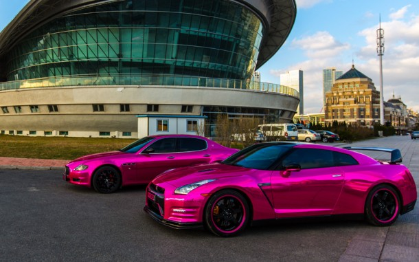Chrome pink Nissan GT-R and Maserati Quattroporte