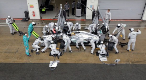 mercedes gp amg pit stops
