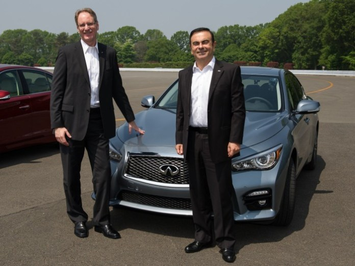 Johan de Nysschen and Carlos Ghosn with the all-new Infiniti Q50