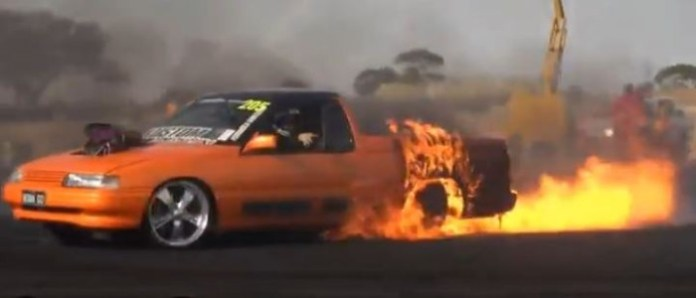 holden ute fire burnout