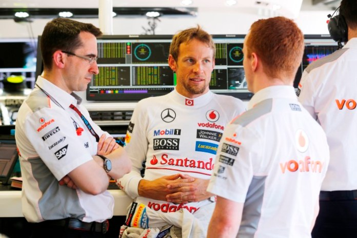 Jenson Button in the garage