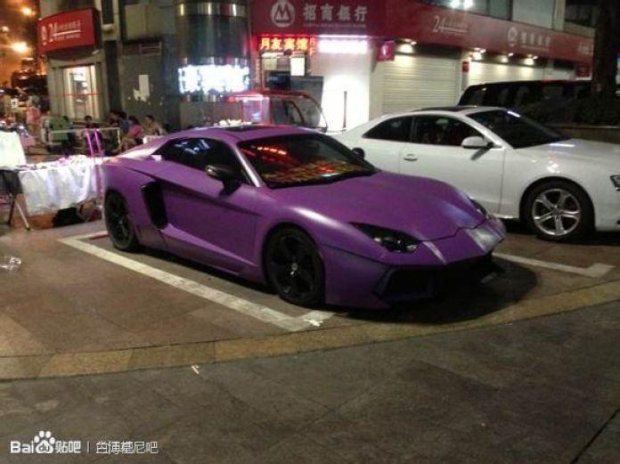 Purple Lamborghini Aventador Replica in China (2)