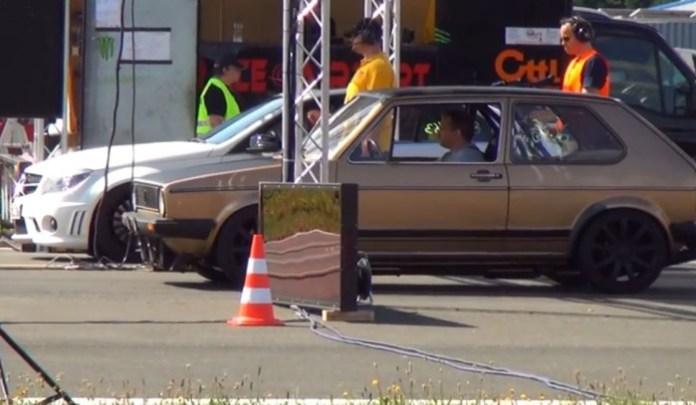 Mercedes C63 AMG vs VW Golf mk1