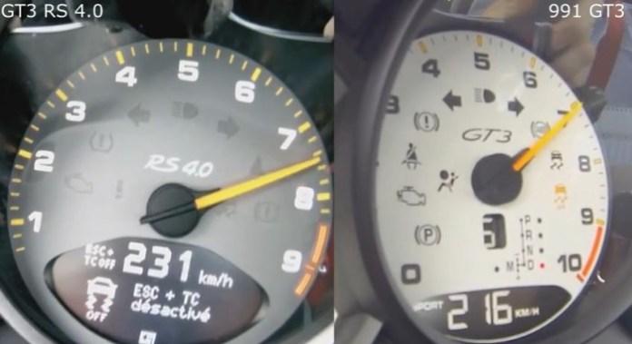 Porsche 911 GT3 RS 4.0 vs 2014 991 GT3 0-200kmh