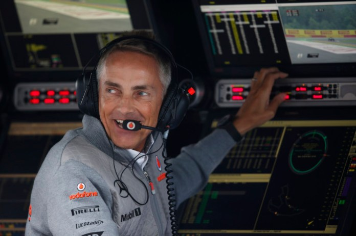 Martin Whitmarsh on the pit wall.